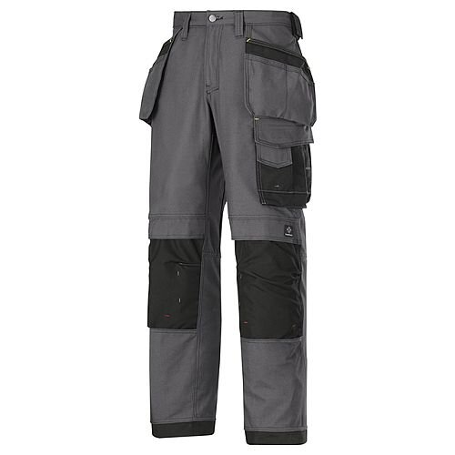 """Snickers 3214 Craftsmen Holster Pocket Trousers Canvas+ Size 144 30""""/35"""" Steel Grey/Black"""