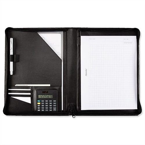 5 Star Elite A4 Zipped Conference Folder with Calculator - Black Leather Look - A4 compartment, pen loops, ball pen, calculator, business card compartments and a notepad