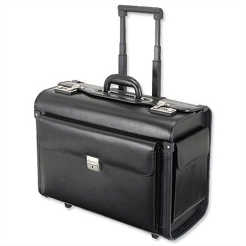 Trolley Pilot Case  Leather-Look Black Laptop Compartment 2 Combination Locks Alassio Silvana