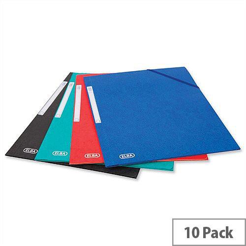 Elba Elasticated Folder 3 Flap 300 Sheets A4 Foolscap Assorted Pack 10