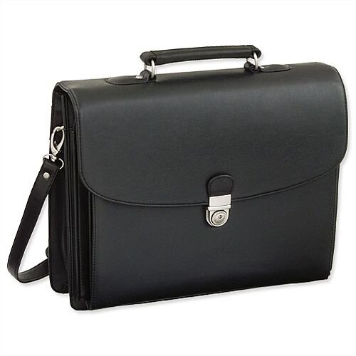 Leather-Look Briefcase Black with Shoulder Strap 5 Document Sections Alassio Forte