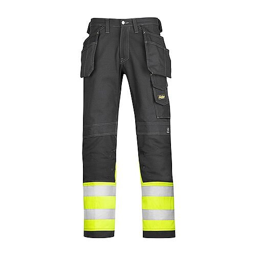 "Snickers 3235 High-Vis Holster Pocket Cotton Trousers Class 1 Size 152 36""/35"" Black/Hi-Vis Yellow"