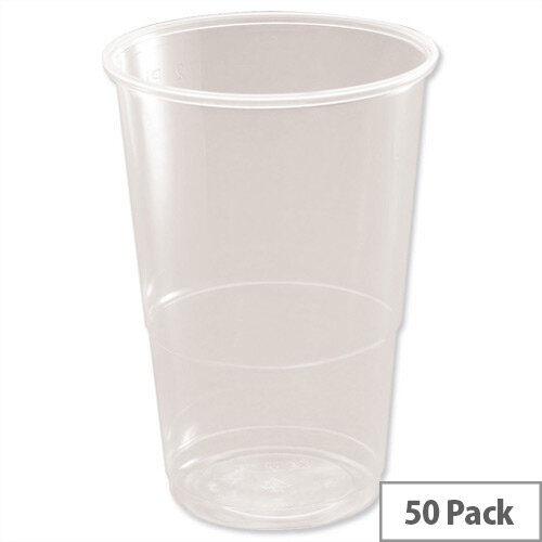 Disposable Plastic 1/2 Pint Glass Clear Tumbler Half Pint (235ml) Pack of 50 Ref 3370