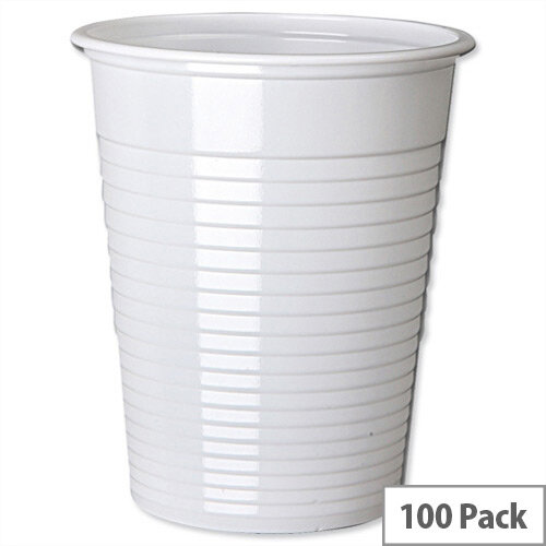 Cold Drink Disposable Plastic Cups White 7oz/200ml [Pack of 100]