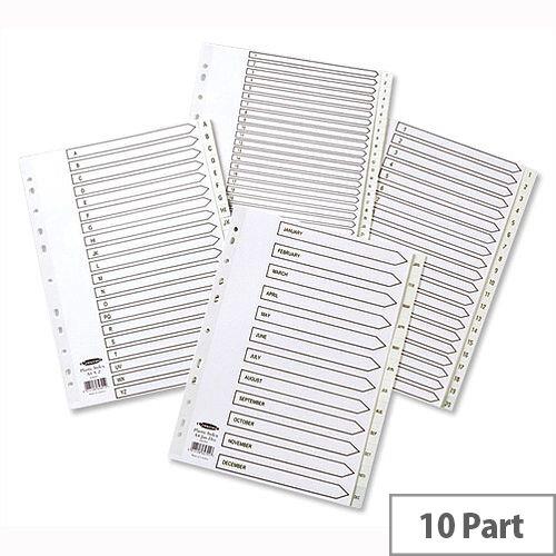 Concord A4 10-Part 1-10 White Polypropylene Index