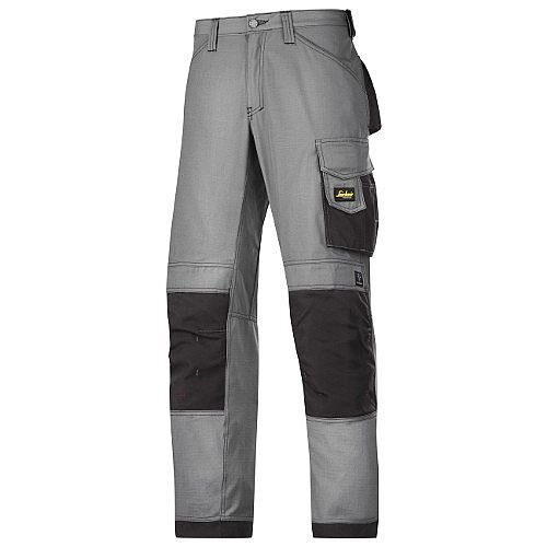 "Snickers 3313 Craftsman Trousers Rip-Stop Grey/Black Waist 36"" Inside leg 35"" Size 152"