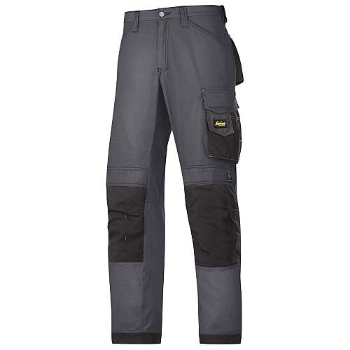 "Snickers 3313 Craftsman Trousers Rip-Stop Steel Grey/Black Waist 36"" Inside leg 35"" Size 152"