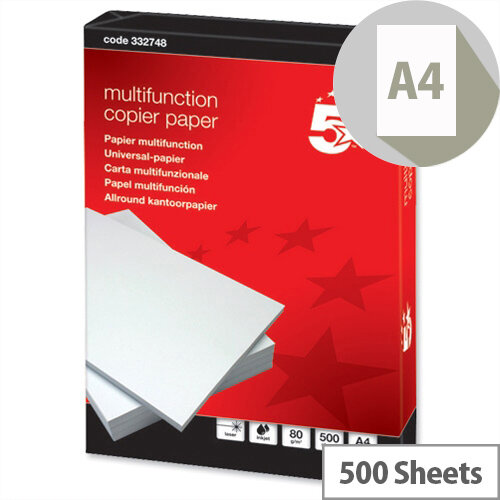 5 Star Multifunctional Printer Paper 80gsm White 500 Sheets