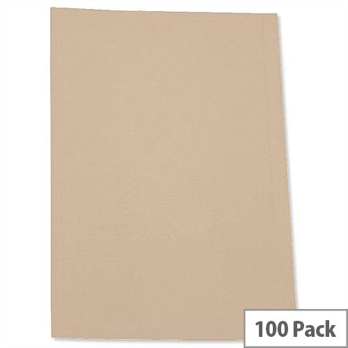 Recycled Square Cut Folder Pre-punched Foolscap Buff Pack 100 5 Star