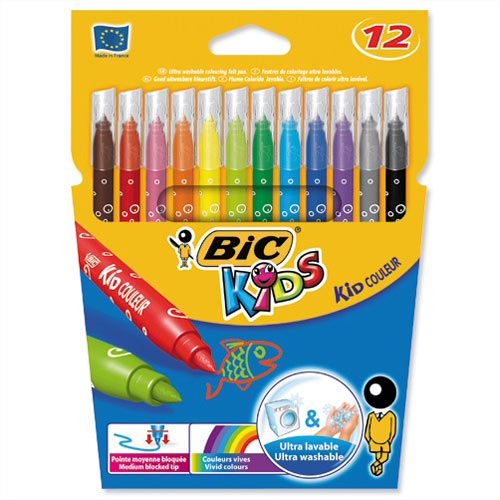 Bic Kids Couleur Pens Washable Felt Tip Assorted Pack 12