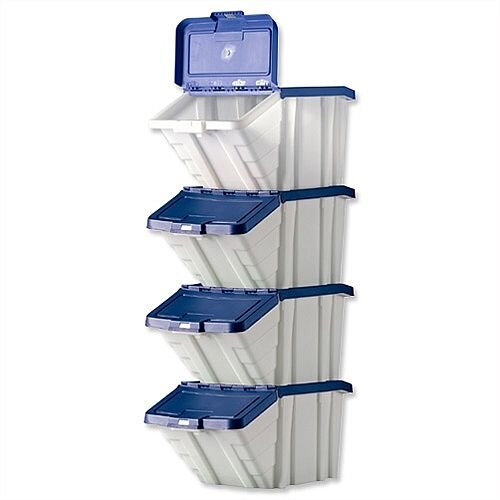 Barton Storage Container Bin 50L 30kg Load White and Blue Lid Pack 4