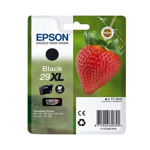 Epson 29XL Black Inkjet Cartridge Strawberry Series - Original Epson Cartridge High Capacity - 470 Pages approx - C13T29914010 / T2991 C13T29914012