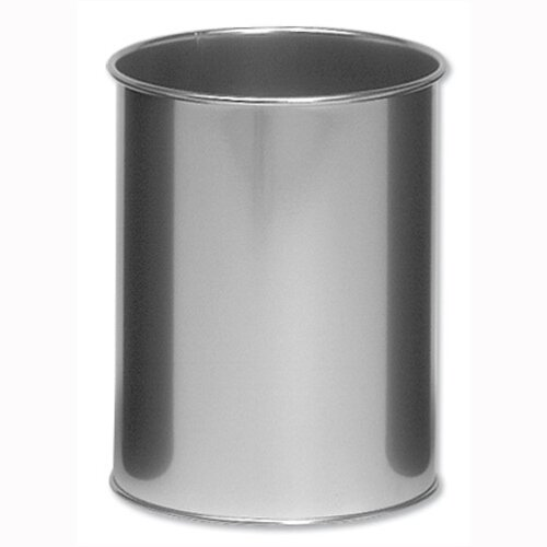 Durable Round Metal Bin Silver Capacity 15 L