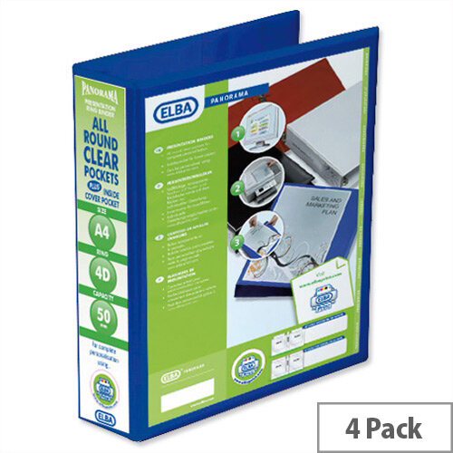 Elba Presentation A4 Ring Binder 50mm Capacity Blue 4 D-Ring 560332 Pack 4