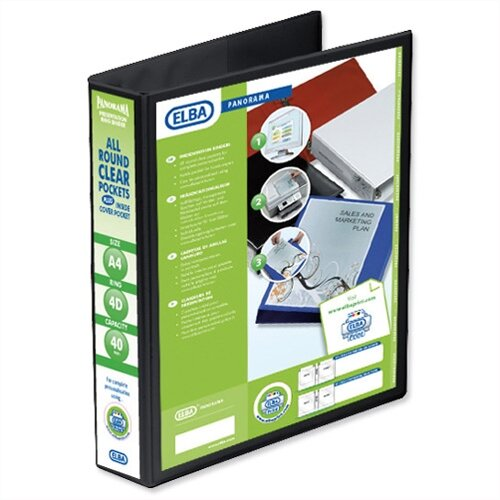Elba Presentation A4 Ring Binder 50mm Capacity Black 4 D-Ring 560333 Pack 4