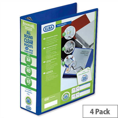 Elba Presentation A4 Ring Binder 65mm Capacity Blue 4 D-Ring 560342 Pack 4