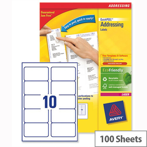 Avery L7173-100 Address Labels Laser 10 per Sheet 99.1x57mm White 1000 Labels