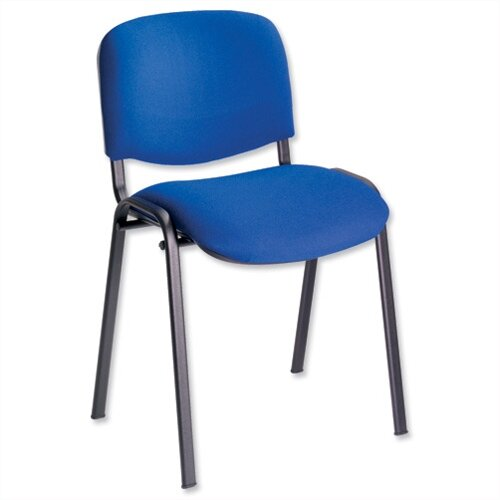 Multipurpose Fabric Upholstered Stacking Chair Blue Trexus Budget