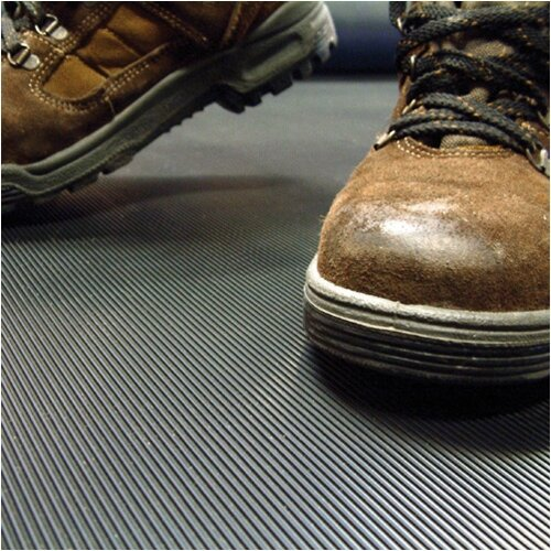 COBA Cobarib Standing Surface Mat Hard-wearing Rubber Ribbed W900xD10000xH3mm Black