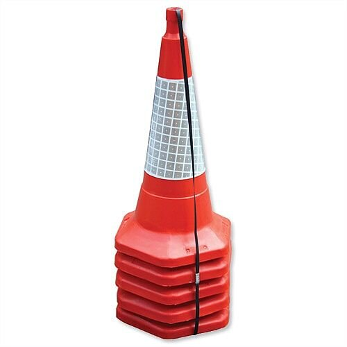 JSP Safety Cone Standard One-piece H750mm with Sealbrite Sleeve Packed 5