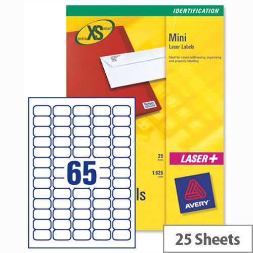 avery j8651 25 mini labels inkjet 65 per sheet 38 1 x 21 2mm white