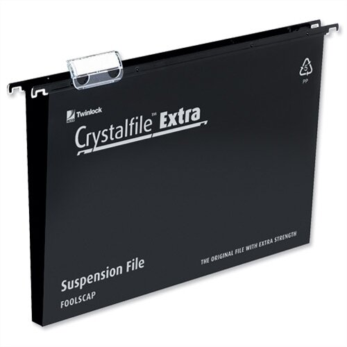 Rexel Crystalfile Extra Foolscap Vertical Suspension File Black Plastic 30mm Pack 25