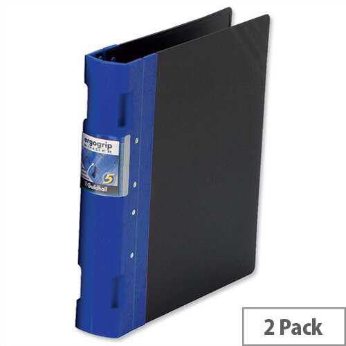 Guildhall GLX Ergogrip A4 Blue 4 Prong Binder 55mm Pack 2