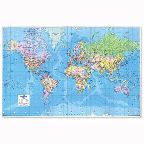 3D World Map Giant Unframed Map Marketing W1840 x H1200mm GWLD