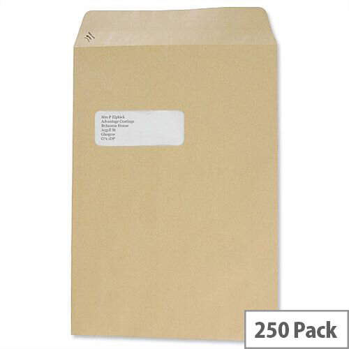 Basildon Bond C4 Window 90gsm Envelopes Manilla Pocket  Peel and Seal (Pack of 250)