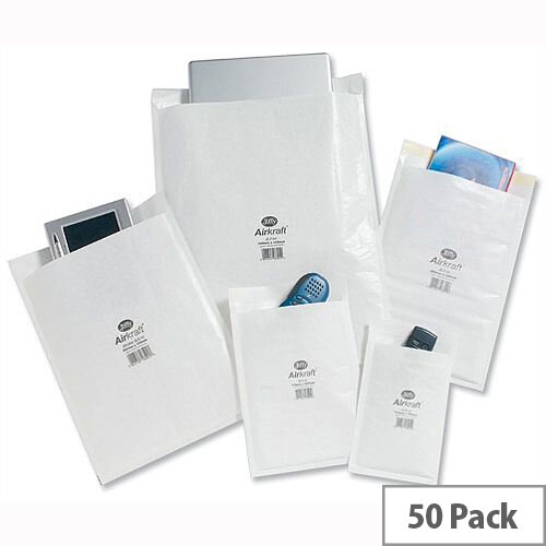Jiffy AirKraft Size 3 Bubble Lined Bags 220x320mm White Pack of 50