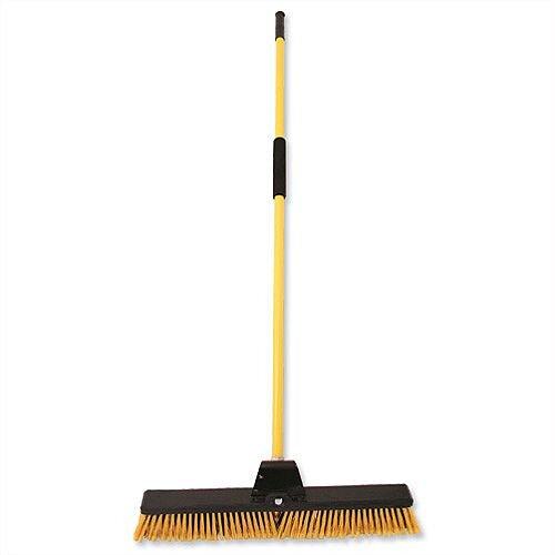 Bulldozer Broom Dual Purpose Soft and Stiff PVC Yard Broom &Metal Handle