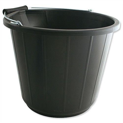 Heavy Duty Bucket With Metal Handle Capacity 14 Litres Black