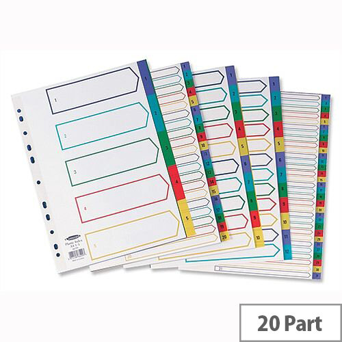 Concord Plastic 1-20 Index Europunched A4 Subject Dividers Assorted