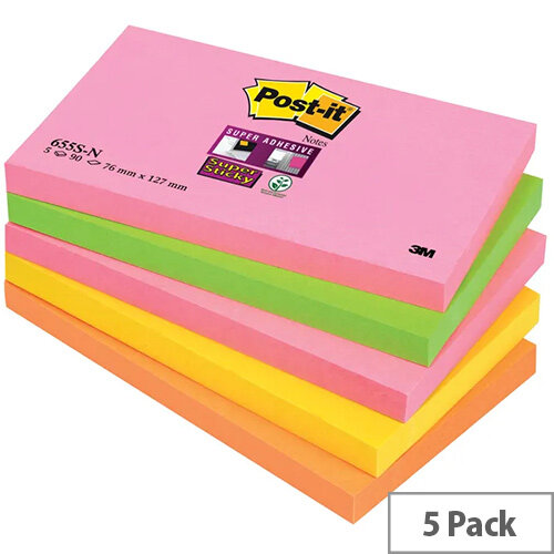 Post-it Super Sticky Notes 76x127mm Neon Rainbow Pack 5