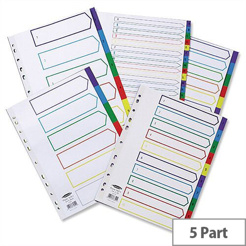 Concord Plastic 1-5 Index Europunched A4 Subject Dividers Assorted