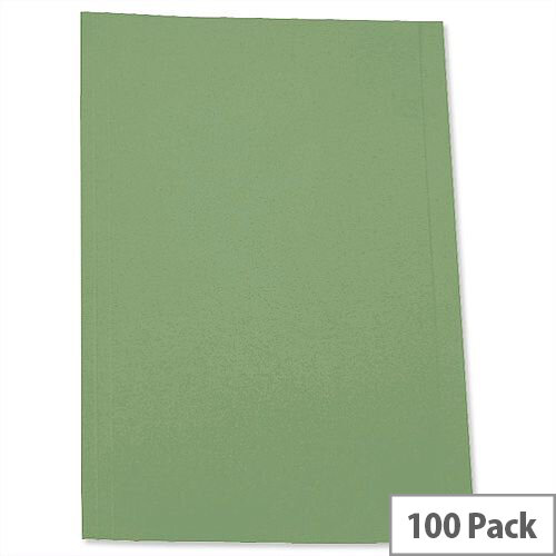 Green Square Cut Folder Recycled Pre-punched 250gsm A4 Pack 100 5 Star