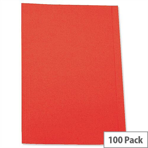 Red Square Cut Folder Recycled Pre-punched 250gsm A4 Pack 100 5 Star