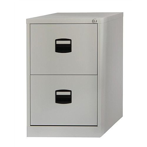 2 Drawer Steel Filing Cabinet Lockable Grey Trexus By Bisley