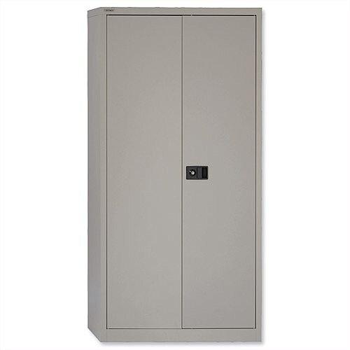 "Steel Storage Cupboard 2 Doors/3 Shelves W914xD400xH1806mm Grey Trexus – Steel, 72"", 330mm Lateral Filing Cradle, Lockable, 45kg Weight Tolerance per Shelf, Assembled On Arrival &5-Year Warranty (395017)"