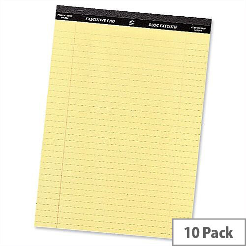 5 Star Yellow Legal A4 Pad Perforated Red Margin 50 Sheets Pack 10