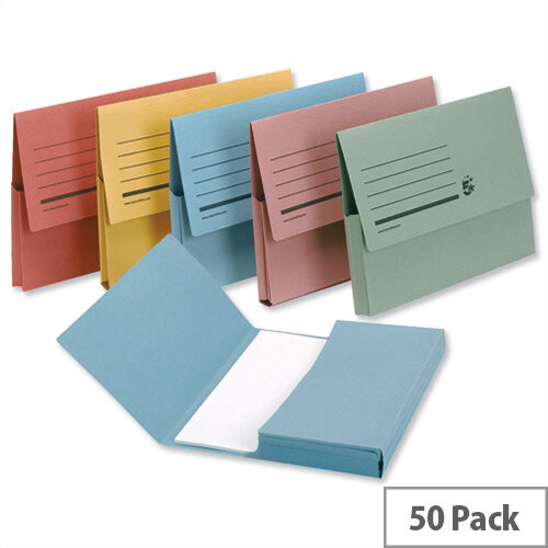 Document Wallet 285gsm Foolscap Assorted Pack 50 5 Star