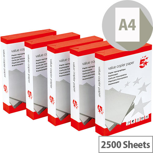 5 Star Multifunctional Printer Paper A4 80gsm White Box of 2500 Sheets