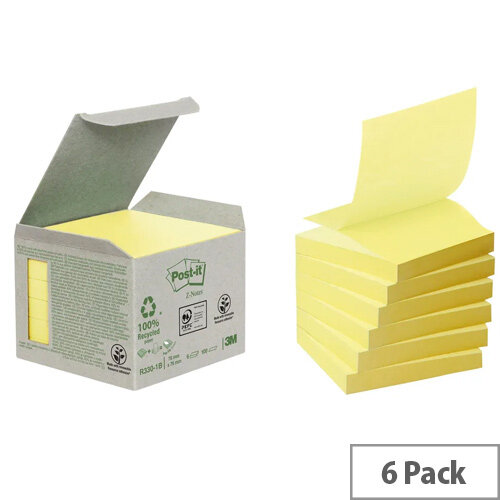 3M Post-it Note Recycled Z-Note 76x76mm Canary Yellow R330-1B