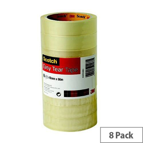 3M Scotch Easy Tear Transparent Tape 19mmx66m Ref ETET1966T8 [Pack 8]