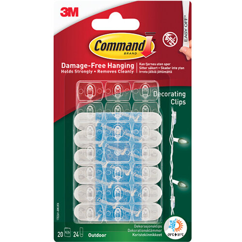 Command Decorating Clips with Water Resistant Strips 20C+24S 17026H-AW