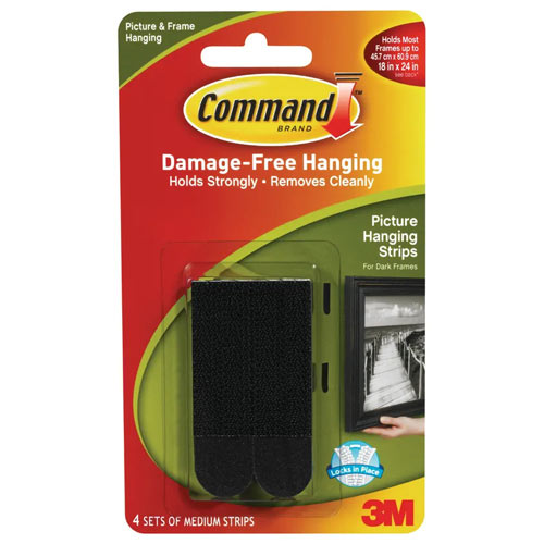 3M Command Medium Picture Hanging Strips Black 17201BLK