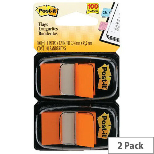 Post-It Index Flag Dispenser Dual Pack Orange 680-O2EU