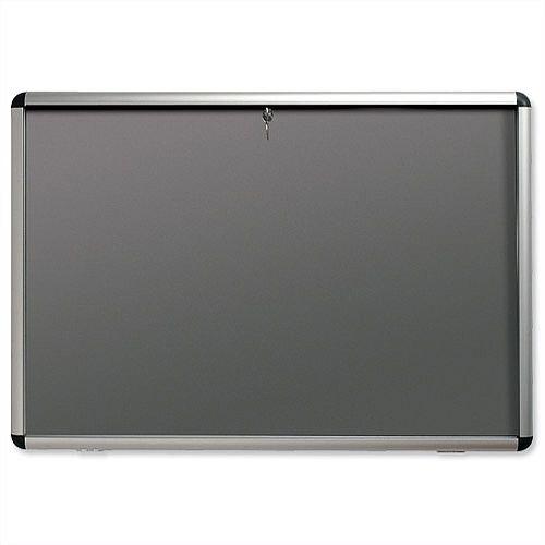 Nobo Display Cabinet Noticeboard A1 Lockable Grey