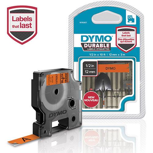 DYMO D1 - Self-adhesive - black on orange - Roll (1.2 cm x 3 m) 1 roll(s) label tape