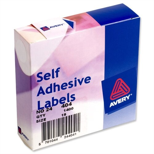 Avery White Round Label Dispenser Diameter 19mm 24-404 1400 Labels